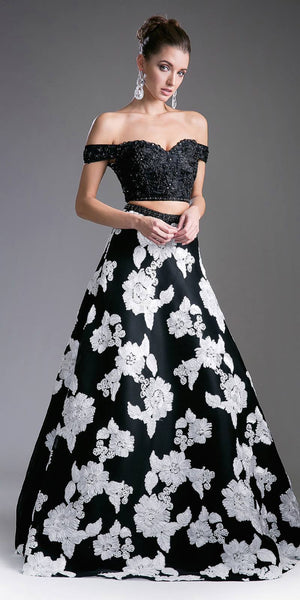 Cinderella Divine 8945 Two Piece Off The Shoulder Long Gown Black Print Lace Top