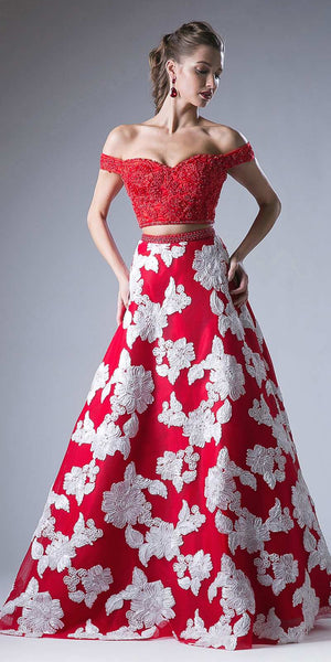Cinderella Divine 8945 Two Piece Off The Shoulder Long Gown Red Print Lace Top