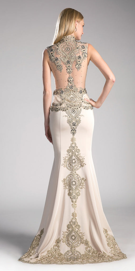 Cinderella Divine 8946 Embroidered Mermaid Evening Gown Queen Anne Neckline Champagne Back View