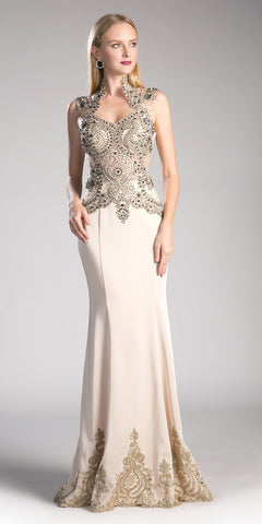 Cinderella Divine 8946 Embroidered Mermaid Evening Gown Queen Anne Neckline Champagne