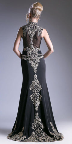 Embroidered Mermaid Evening Gown Queen Anne Neckline Black
