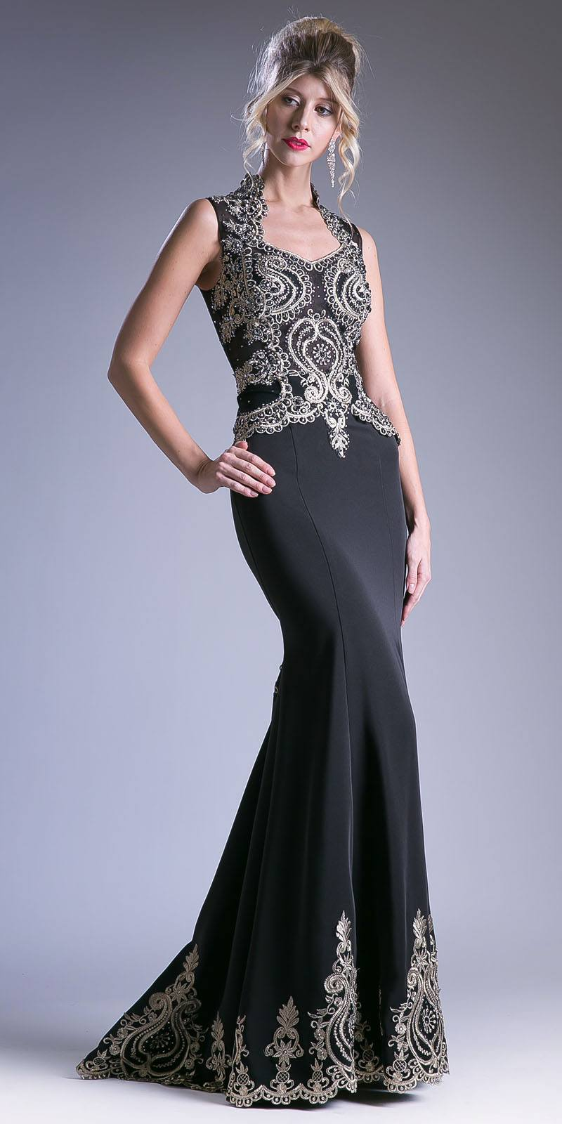 39c5c615754 Embroidered Mermaid Evening Gown Queen Anne Neckline Black. Tap to expand