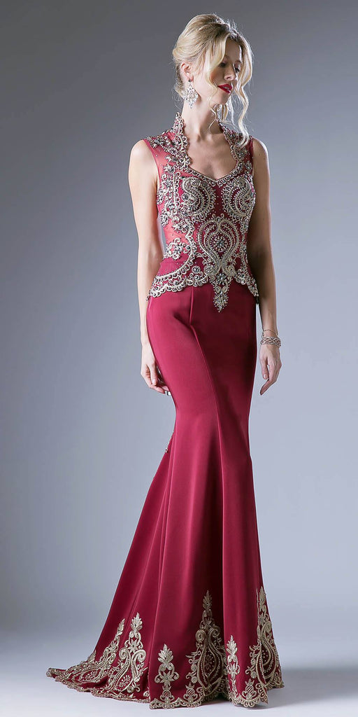 Embroidered Mermaid Evening Gown Queen Anne Neckline Burgundy