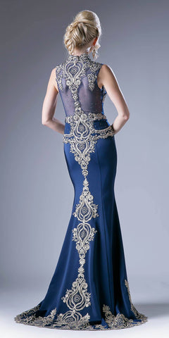 Embroidered Mermaid Evening Gown Queen Anne Neckline Navy Blue