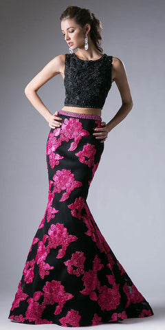 Two Piece Chiffon/Mesh Short Prom Dress Black Wide Straps
