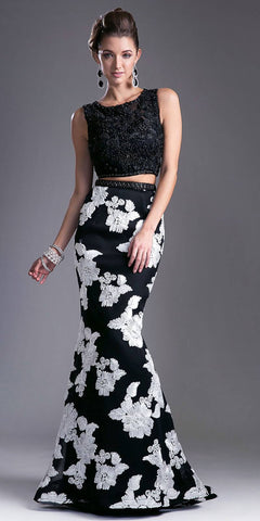 Two Piece Mermaid Prom Gown Beaded Crop Top Black/White
