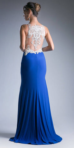 Long Appliqued Sleeveless Prom Dress with High Slit Royal Blue