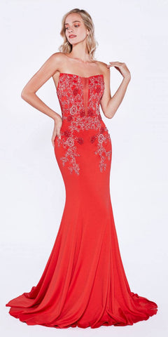Red Beaded Long Mermaid Prom Dress Strapless