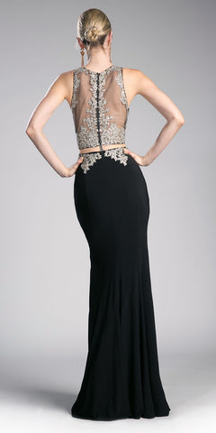 Black Mock Two-Piece Embroidered Long Prom Dress
