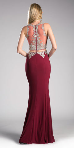 Burgundy Mock Two-Piece Embroidered Long Prom Dress