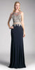 Navy Blue Mock Two-Piece Embroidered Long Prom Dress