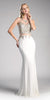 Off White Mock Two-Piece Embroidered Long Prom Dress