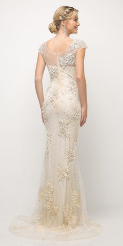 ebe594889a Cinderella Divine 8983 Long Beaded Sheath Gown Champagne Cap Sleeves