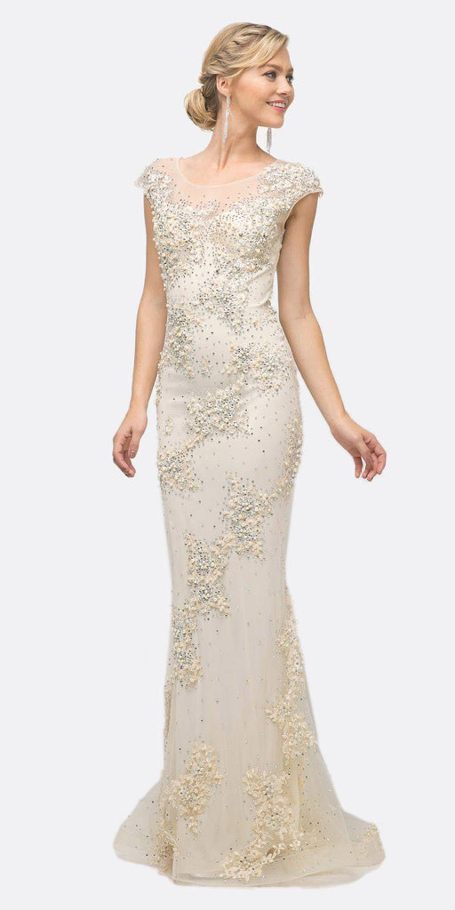 Cinderella Divine 8983 Long Beaded Sheath Gown Champagne Cap Sleeves