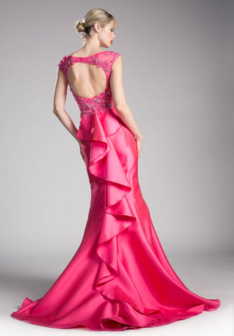 Fuchsia Mermaid Prom Gown Cut Out Back with Ruffles