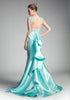 Mint Mermaid Prom Gown Cut Out Back with Ruffles