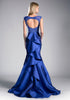 Royal Blue Mermaid Prom Gown Cut Out Back with Ruffles