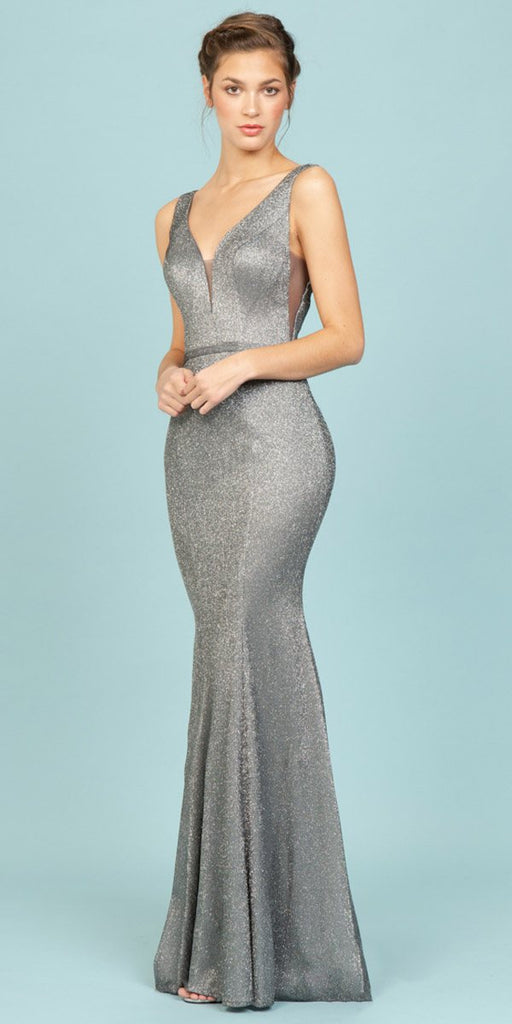 Fashion Eureka 8987 Charcoal Shimmering Mermaid Long Prom Dress