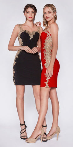 Red Bodycon Appliqued Party Dress Cut-Out Back