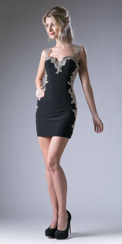 Black Bodycon Appliqued Party Dress Cut-Out Back