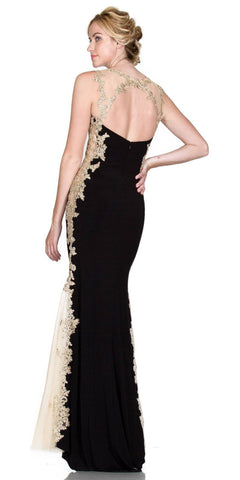 Cinderella Divine 8988 Sweetheart Neck Black-Gold Fit and Flare Evening Gown Cut Out Back