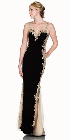 Sweetheart Neck Black-Gold Fit and Flare Evening Gown Cut Out Back