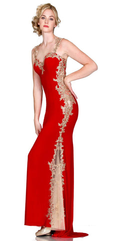 Sweetheart Neck Red-Gold Fit and Flare Evening Gown Cut Out Back