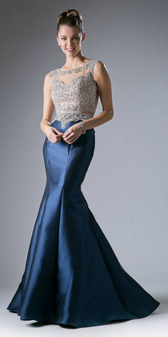 Cinderella Divine 8990 Beaded Bodice Mock 2-Piece Mermaid Gown Navy Cap Sleeve