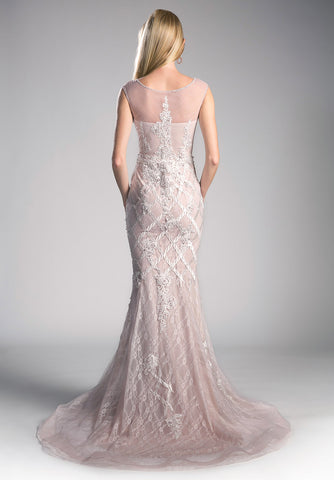 Mauve-Off White Mermaid Long Formal Dress Embroidered