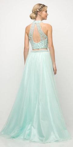 Cinderella Divine 8994 Beaded Bodice 2 Piece Halter Ball Gown Long Mint