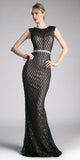 Black Floor Length Sequin Dress with Jeweled Waistband