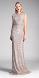 Champagne Floor Length Sequin Dress with Jeweled Waistband