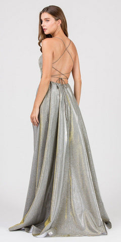 Metallic Long Prom Dress with Slit Criss-Cross Back Champagne