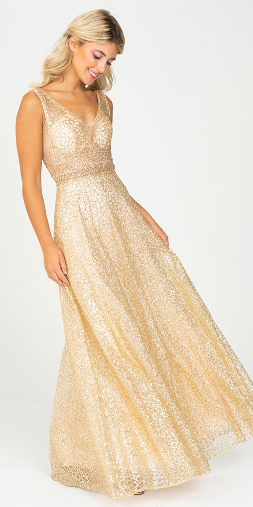 Long Formal Gold Glitter Mesh Gown A-Line V-Neck