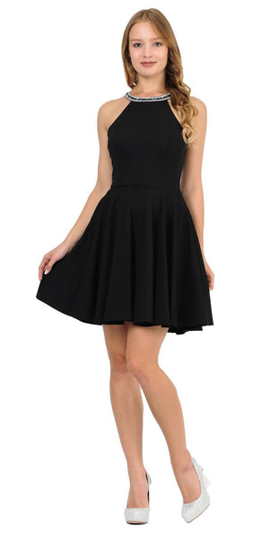 Black Beaded Neckline Short Homecoming Dress with Pockets