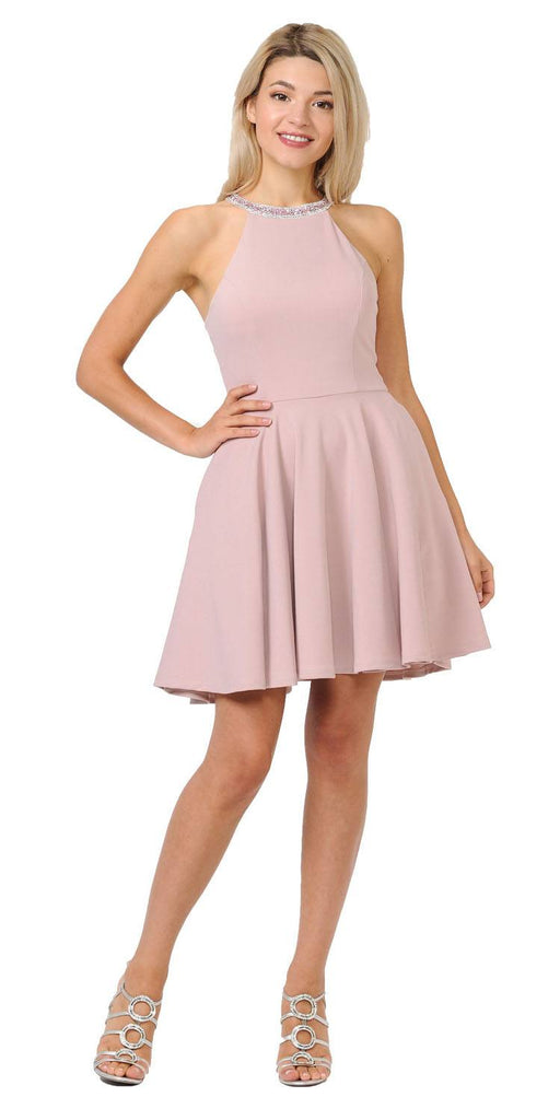 Dusty Rose Beaded Neckline Short Homecoming Dress with Pockets
