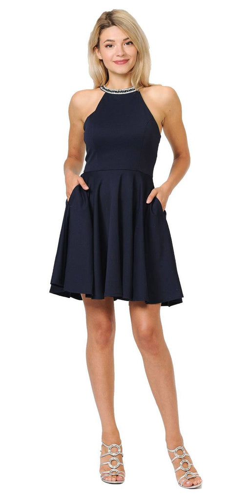 Navy Blue Beaded Neckline Short Homecoming Dress with Pockets
