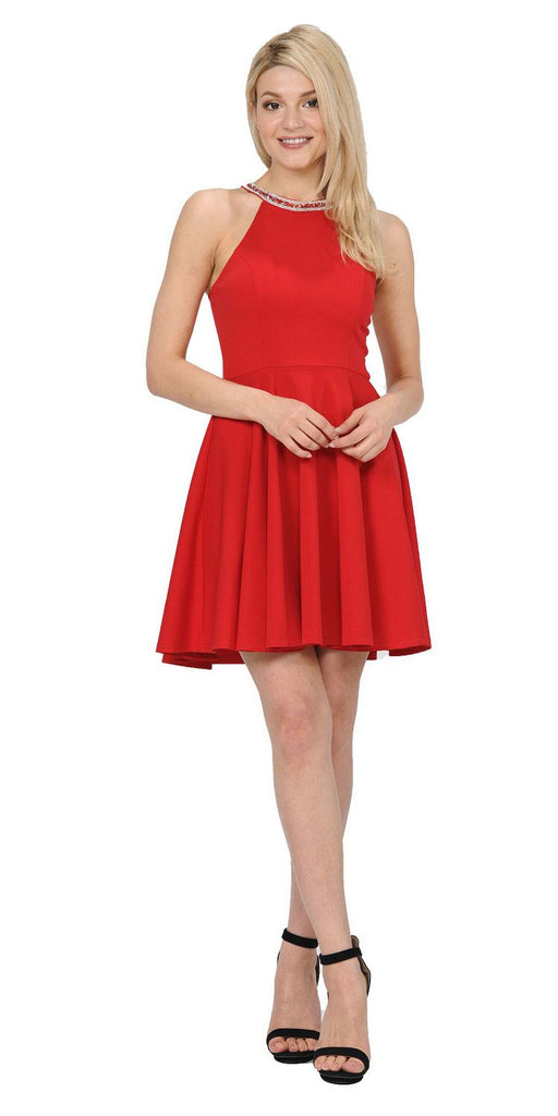 Red Beaded Neckline Short Homecoming Dress with Pockets