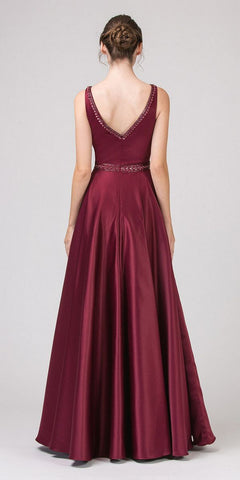 Embellished Long Prom Dress V-Neck with Pockets Burgundy
