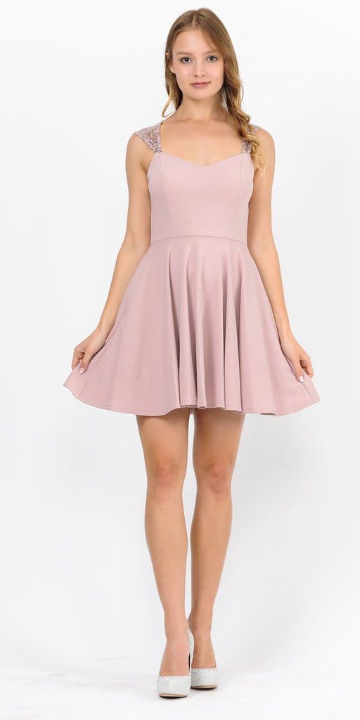 Mauve Short Homecoming Dress with Sequins Keyhole Back