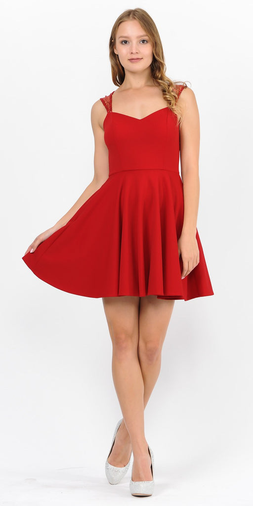 Red Short Homecoming Dress with Sequins Keyhole Back