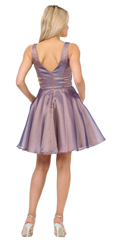 V-Neck and Back Homecoming Short Dress with Pockets Brown/Royal