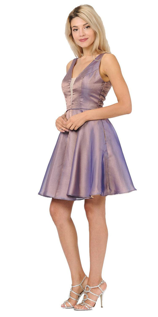 Poly USA 9018 V-Neck and Back Homecoming Short Dress with Pockets Brown/Royal