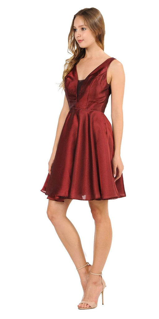 Poly USA 9018 V-Neck and Back Homecoming Short Dress with Pockets Burgundy
