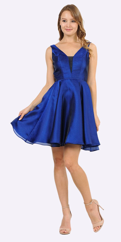 Poly USA 9018 V-Neck and Back Homecoming Short Dress with Pockets Royal Blue