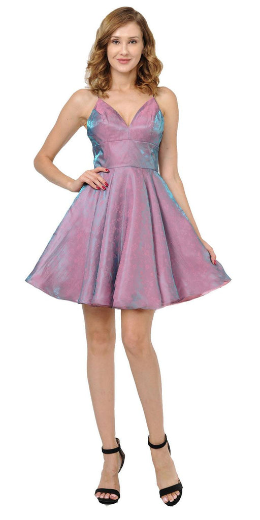 Poly USA 9020 Mauve/Gold Short Homecoming Dress with Spaghetti Straps