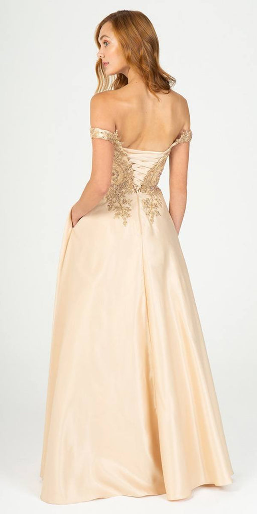 Eureka Fashion 9027 Champagne Off-Shoulder Long Prom Dress with Pockets