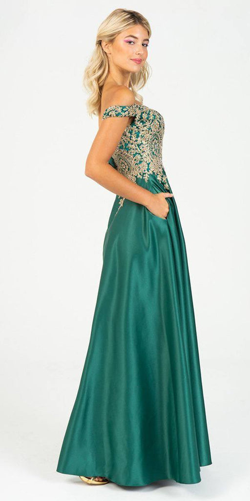 Eureka Fashion 9027 Emerald Off-Shoulder Long Prom Dress with Pockets
