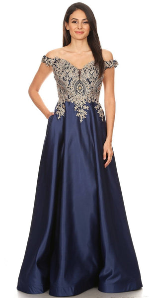 Eureka Fashion 9027 Navy Blue Off-Shoulder Long Prom Dress with Pockets