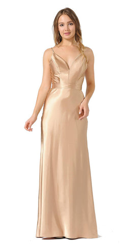 V-Neck Long Formal Dress with Spaghetti Strap Gold